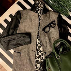 Zara Herringbone Leather Sleeves Blazer